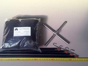Čeřen komplet 1,5 x 1,5 m/ síť PAD 4×4 mm černá – rašl