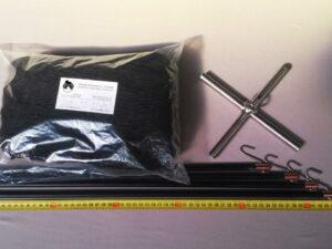 Čeřen komplet 1,5 x 1,5 m/ síť PAD 15×15 mm černá – rašl